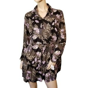 New Style & Co 1X Black Floral Top